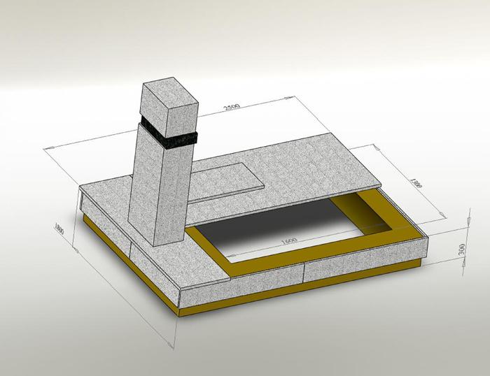 Мы рассчитываем вес надгробного камня - стелы на кв.см. Под стелой обязательно армируется фундамент швеллером.