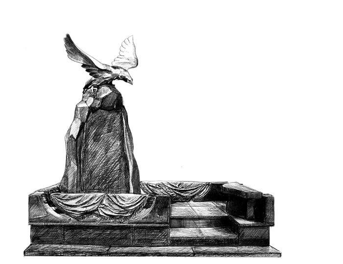 Эскиз мемориального комплекса с бронзовым орлом и драпировкой