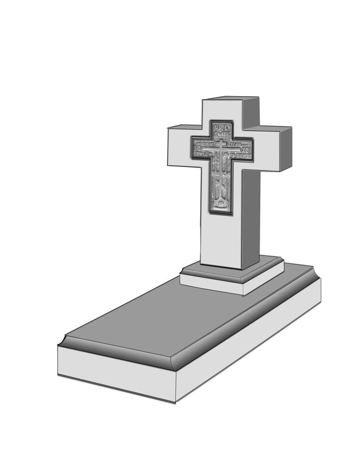 Старообрядческий надгробный памятние с крестом из латуни внутри креста