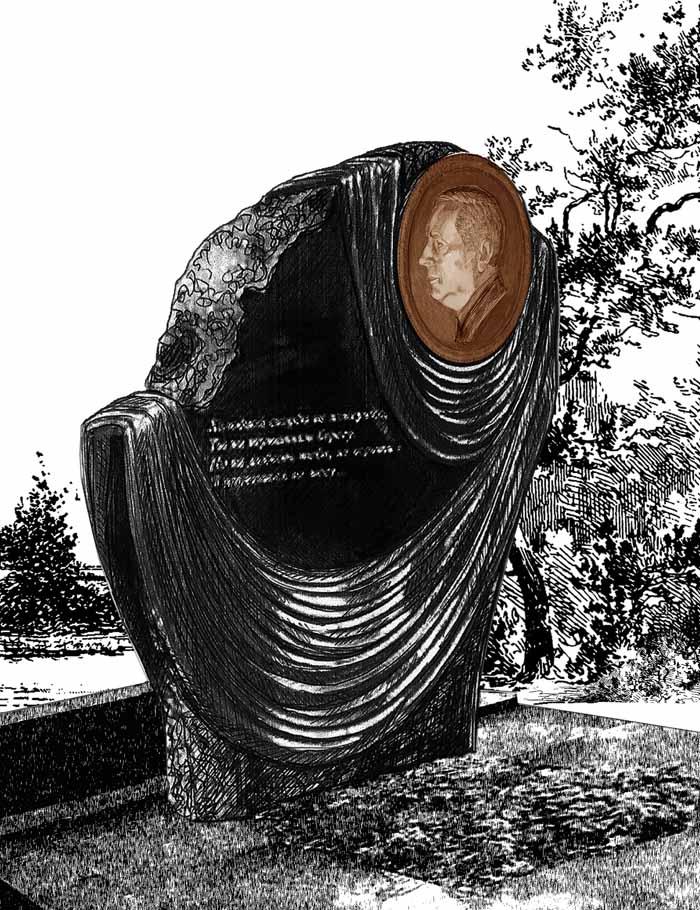 Эскиз памятника с бронзовым барельефом.