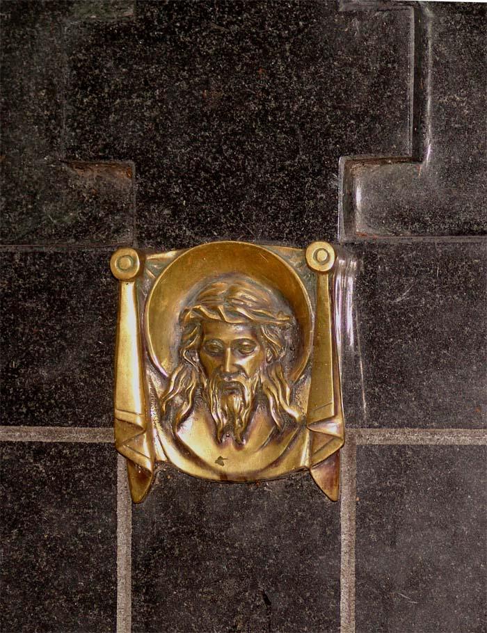 Накладной декоративный элемент лик из бронзы