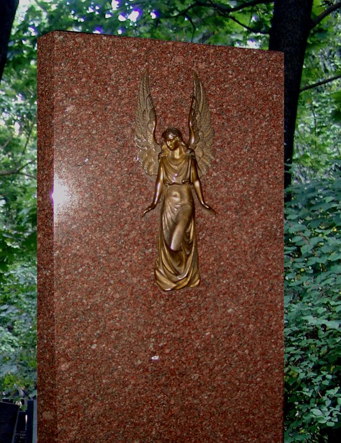 Накладной декор на надгобие барельеф ангела бронза