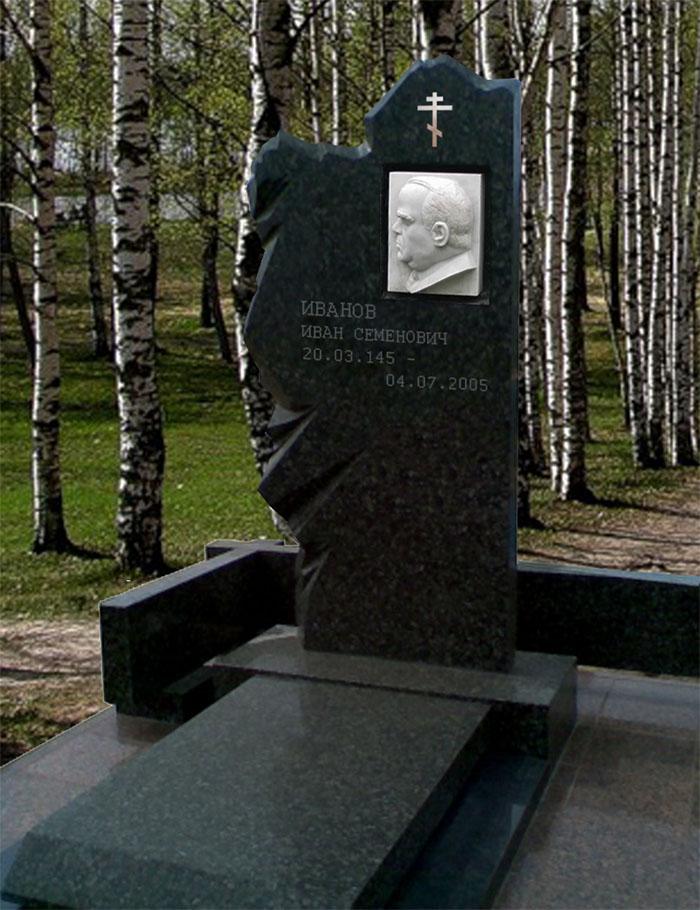 Эскиз надгробия из гранита с барельефом из ониксового мрамора и бронзовым крестом.