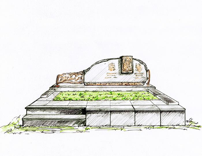 Хачкар из бронзы. Эскиз памятника. Огада - модерн.