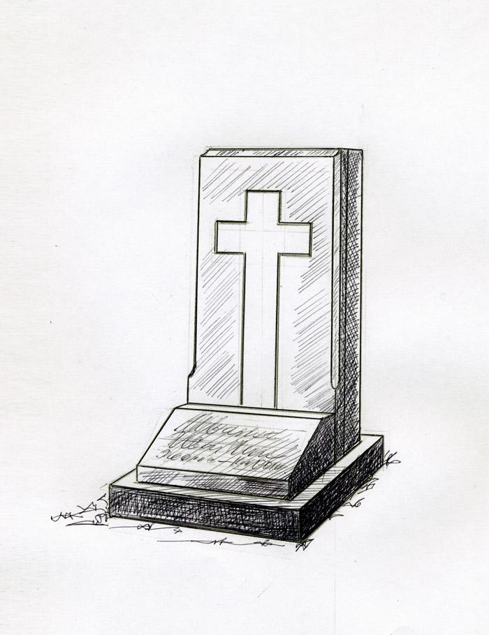 Католический крест - мозаика на надгробии.