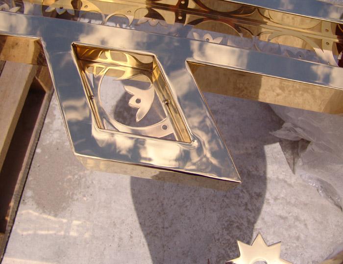 Фрегмент креста. Нержавейка покрытая нитридом титана.
