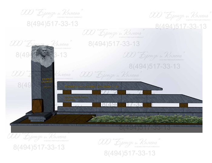 Проект эксклюзивного памятника с гранитным бюстом .