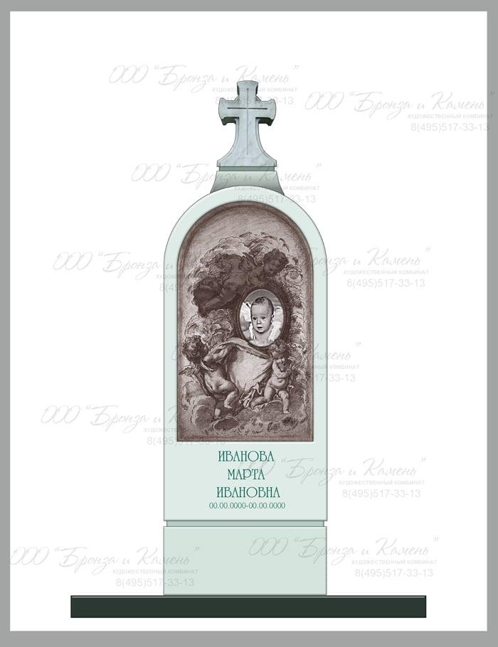 Эскиз надгробия с ангелочком для детского надгробия